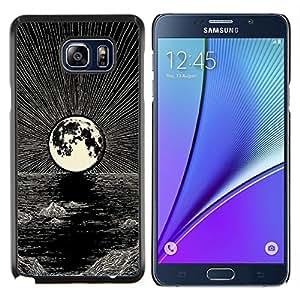 KLONGSHOP // Cubierta de piel con cierre a presión Shell trasero duro de goma Protección Caso - Luna Art Pen Noche Negro océano blanco - Samsung Galaxy Note 5 5th N9200 //