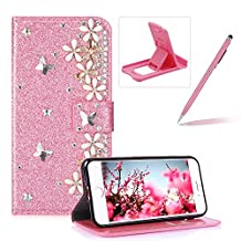 Diamond Wallet Leather Case for iPhone 8 Plus,Flip Cover for iPhone 7 Plus,Herzzer Premium Luxury 3D Flower Decor Butterfly Buckle Magnetic Closure Pink Glitter Stand Case with Inner Soft Rubber Protective Case