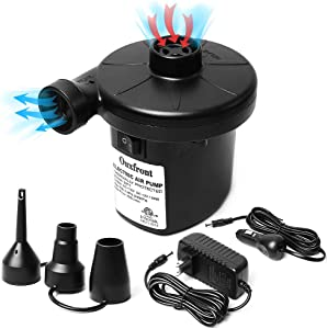 Electric Air Pump for Inflatables, Portable Quick Air Mattress Pump for Raft Boat Air Bed Pool Toy Swimming Ring with 3 Nozzles, AC 110V/DC 12V Inflatable Pump Black (50W)