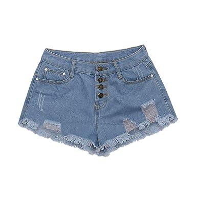 Pantalones Cortos para Mujer,RETUROM 2019 Moda Mujer Verano Pantalones Cortos Jeans Denim Shorts Vaqueros Slim Fit diámetro Agujero del Dril de ...