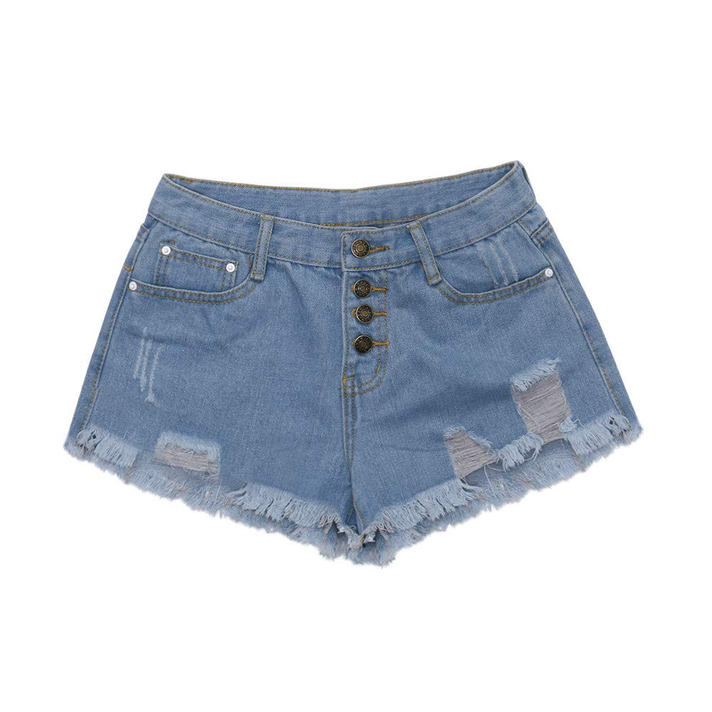Pervobs Women High Waist Buckled Hole Denim Shorts Thin Wild Edging Hot Pants(S, Sky Blue)