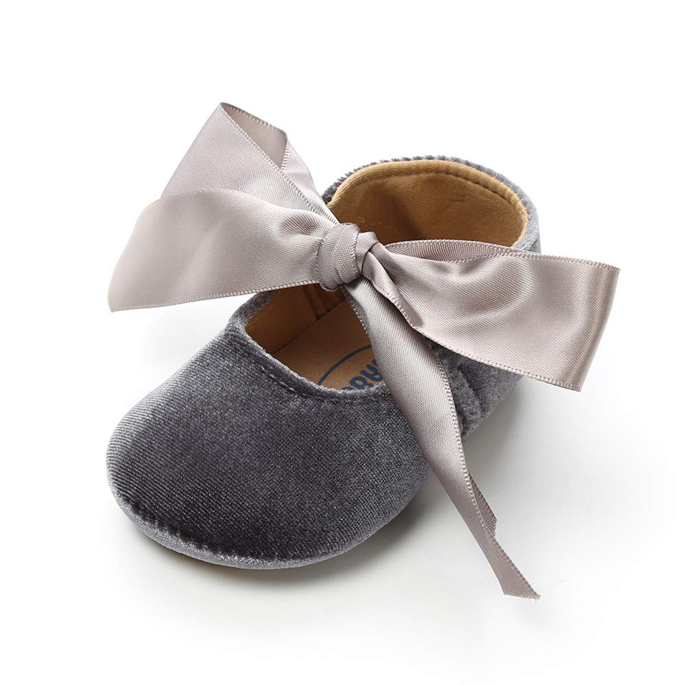 PanGa Baby Boys Girls Mary Jane Flats Anti-Slip Rubber Soft Sole Bow Toddler First Walkers Princess Party Prewalker Dress Shoes