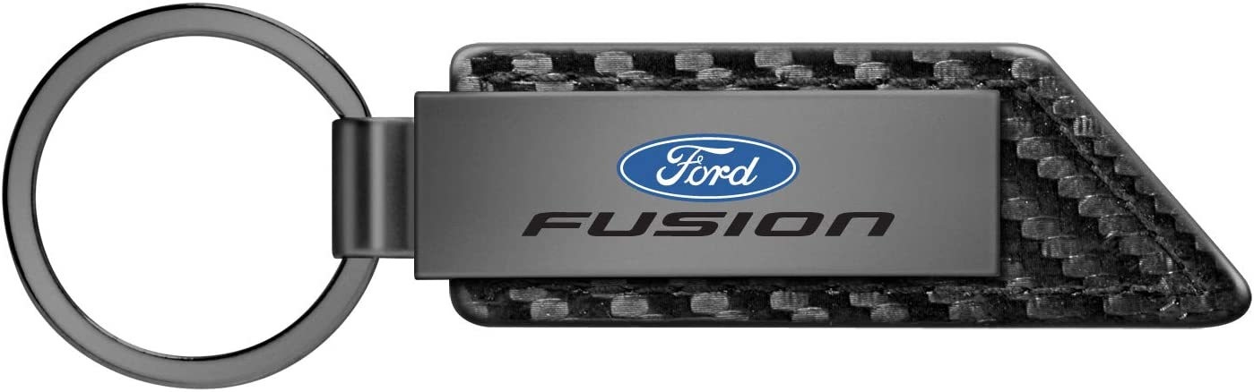 iPick Image for Ford Fusion Gunmetal Gray Metal Plate Carbon Fiber Texture Black Leather Key Chain