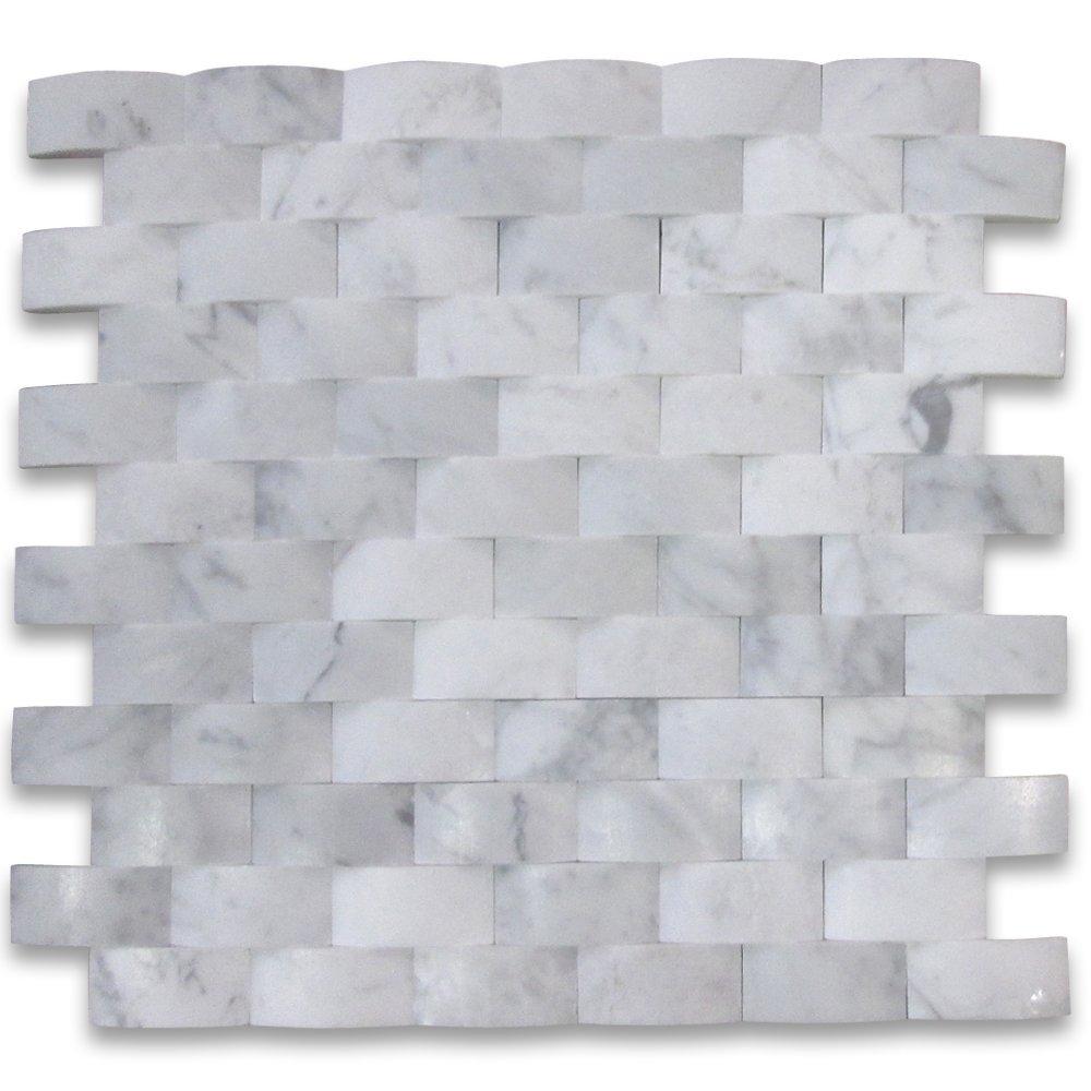 Carrara white italian carrera marble 3d cambered curved arched carrara white italian carrera marble 3d cambered curved arched mosaic tile 1x2 brick honed amazon dailygadgetfo Choice Image