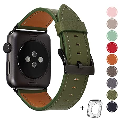 Compatible I Watch Band 42mm 44mm, Top Grain Leather Band Replacement Strap I Watch Series 4,Series 3,Series 2,Series 1,Sport, Edition (Olive Green Band+Black Buckle, 42mm 44mm) by Hot