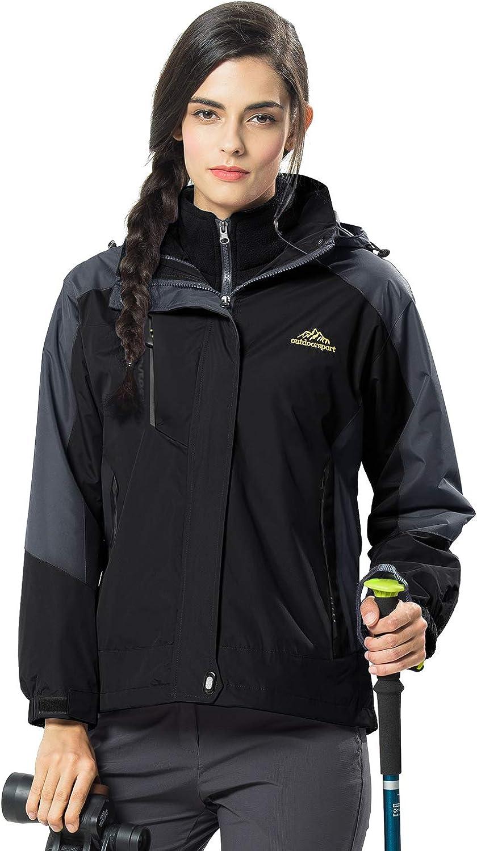 MAGCOMSEN Women's Outdoor 3-in-1 Waterproof Waterproof Skiing Snowboarding Jacket Fleece Warm Raincoat Black