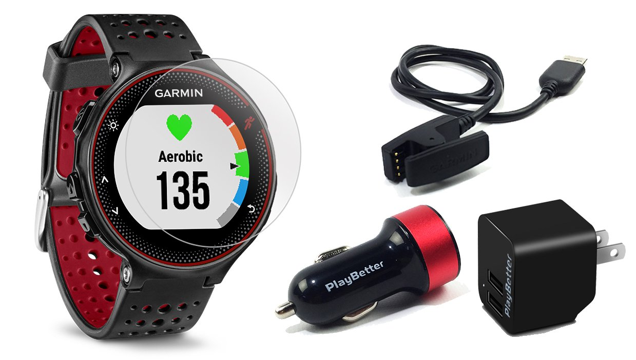 Garmin Forerunner 235 (Marsala) GPS Running Watch Bundle | with HD Screen Protector Film (x4) & PlayBetter USB Car/Wall Adapters | On-Wrist Heart Rate ...