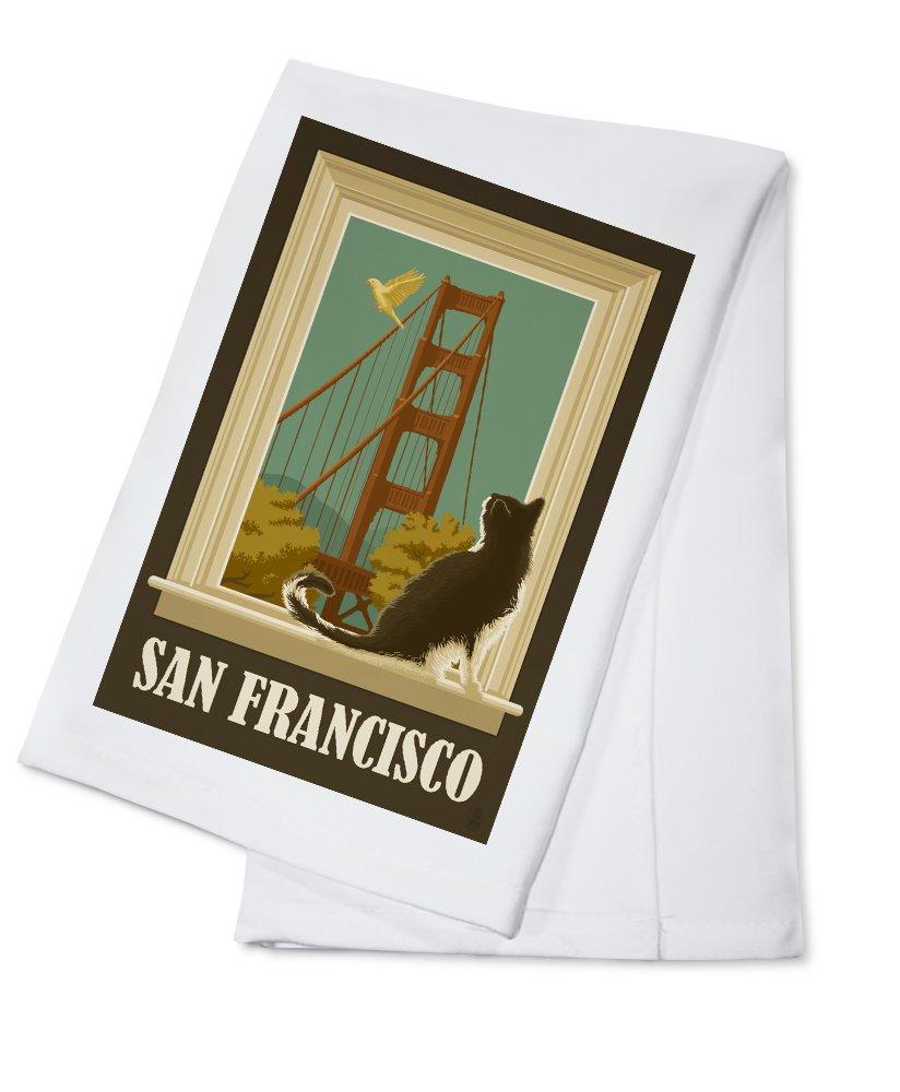 San Francisco, California - Golden Gate Bridge and Cat Window (100% Cotton Kitchen Towel)