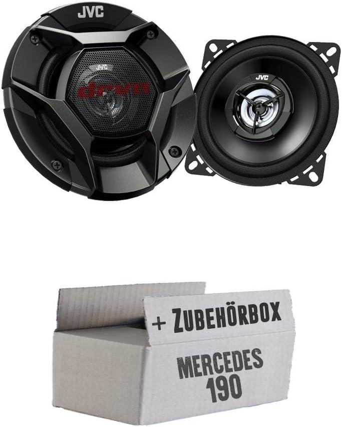 Einbauset f/ür Mercedes 190 JVC CS-DR420-10cm 2-Wege Koax-Lautsprecher W201 Front JUST SOUND best choice for caraudio
