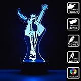Figurine Michael Jackson 3D Lampes Illusions Optiques  7 couleurs Changement Tactile Interrupteur Lumière De Nuit Art Déco Faites Une Ambiance Romantique Dans La Chambre Chambre D'enfants Salon Bar Café Restaurant