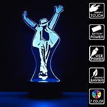 LED 3D ligera 7 de Escritorio cambiar del lámpara tabla el Mesa Michael de botón USB Libro Jackson escritorio Lámpara color táctil de Poster hdtrsQC