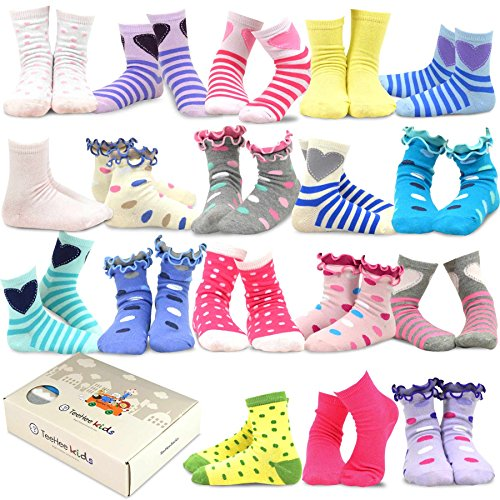 TeeHee Kids Girls Fashion Variety Cotton Crew 18 Pair Pack Gift Box (6-8Y, Fashion)