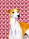 Caroline's Treasures LH9148CHF Whippet Hearts Love and Valentine's Day Portrait Flag Canvas, Large, Multicolor