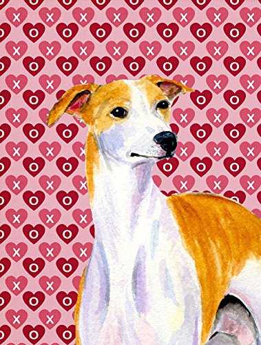 Caroline's Treasures LH9148CHF Whippet Hearts Love and Valentine's Day Portrait Flag Canvas, Large, Multicolor For Sale