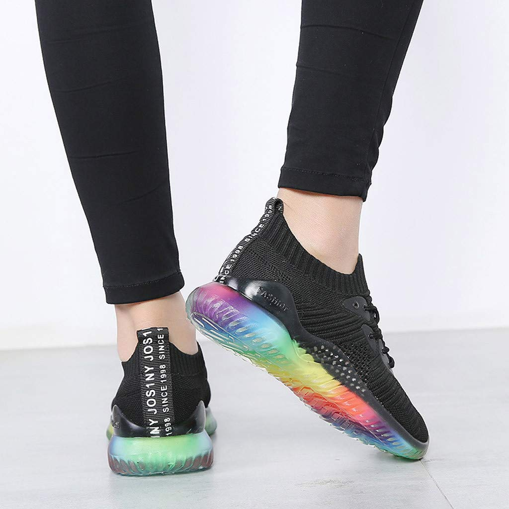 Women's Breathable Casual Sneakers Trend Woven Rainbow Jelly Soles Outdoor Sport Running Slip-on Shoes by Dacawin_Women Sport Shoes (Image #6)