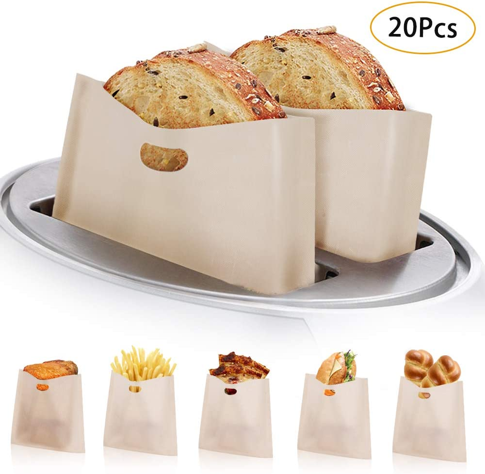 Toaster Bags, KMEIVOL 20 Pcs Grilled Cheese Toaster Bags, Heat Resistant Toaster Bags Reusable, Non Stick Kitchen Toaster Pockets, Gluten Free Toaster Bags Easy to Clean, Perfect for Sandwiches Pizza