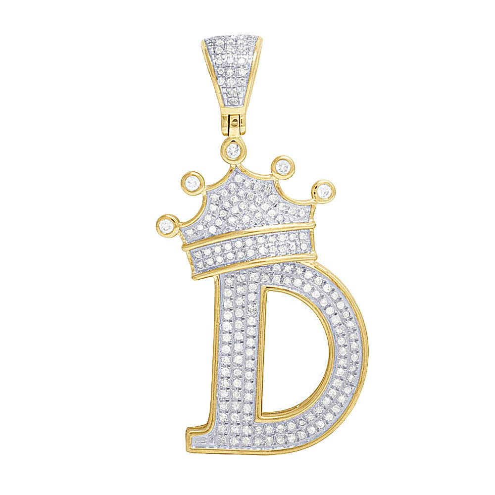 0.55Ct Round Cut Simulated Diamond Crown InitialD Pedant In Solid 10K Yellow Real Gold With 18Chain .925 Silver