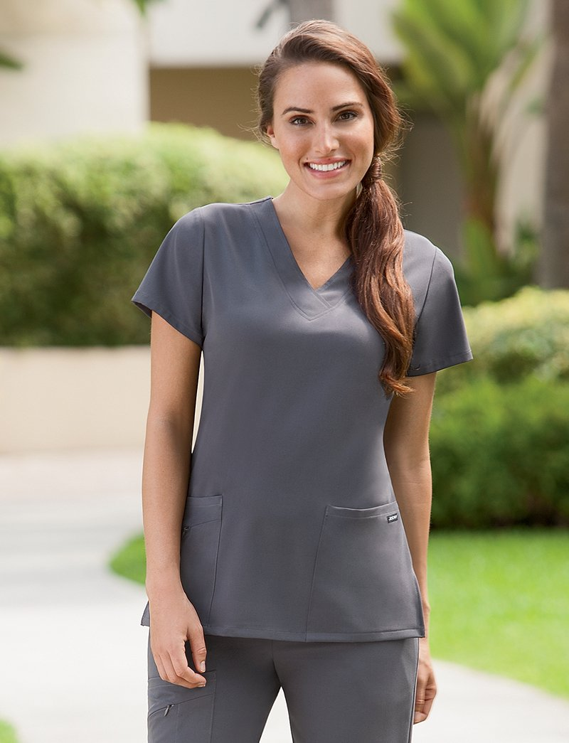 Jockey Women's Scrubs V-Neck Crossover Scrub Top, pewter, L