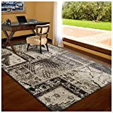 Superior Parquet Collection Area Rug, 8mm Pile Height with Jute Backing, Vintage Patchwork Persian Rug Design, Fashionable and Affordable Woven Rugs – 4′ x 6′ Rug, Ivory & Brown Review