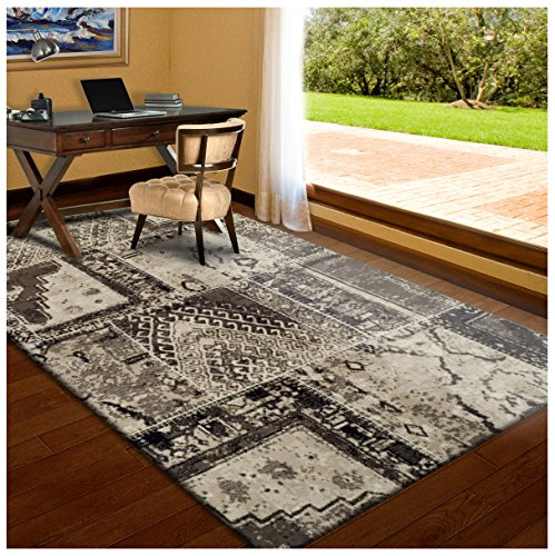 Superior Parquet Collection Area Rug, 8mm Pile Height with Jute Backing, Vintage Patchwork Persian Rug Design, Fashionable and Affordable Woven Rugs - 5' x 8' Rug, Ivory & Brown