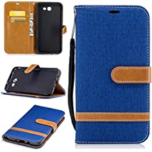Galaxy J7 2017 Wallet Case, Galaxy J7 V Case, Galaxy J7 Perx Case, Galaxy J7 Sky Pro Case, Easytop Wallet Flip Protective Case Cover with Card Slots and Stand for Samsung Galaxy J7 2017 (Royal Blue)