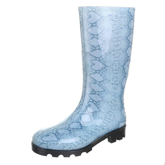 Ital-Design Damen Schuhe, GST-F901P, Stiefel, Regenstiefel Gummi, Gummi, Grau Weiß, Gr 37