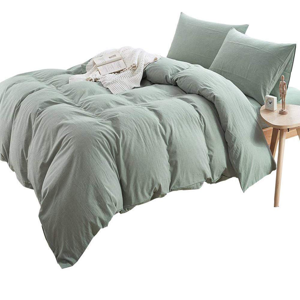 AMWAN Luxury Solid Green Duvet Cover Set Full Queen Natural Washed Cotton Bedding Set Hotel Soft Boys Girls Duvet Comforter Cover Set 3 Piece Queen Bedding Set 1 Duvet Cover with 2 Pillowcases