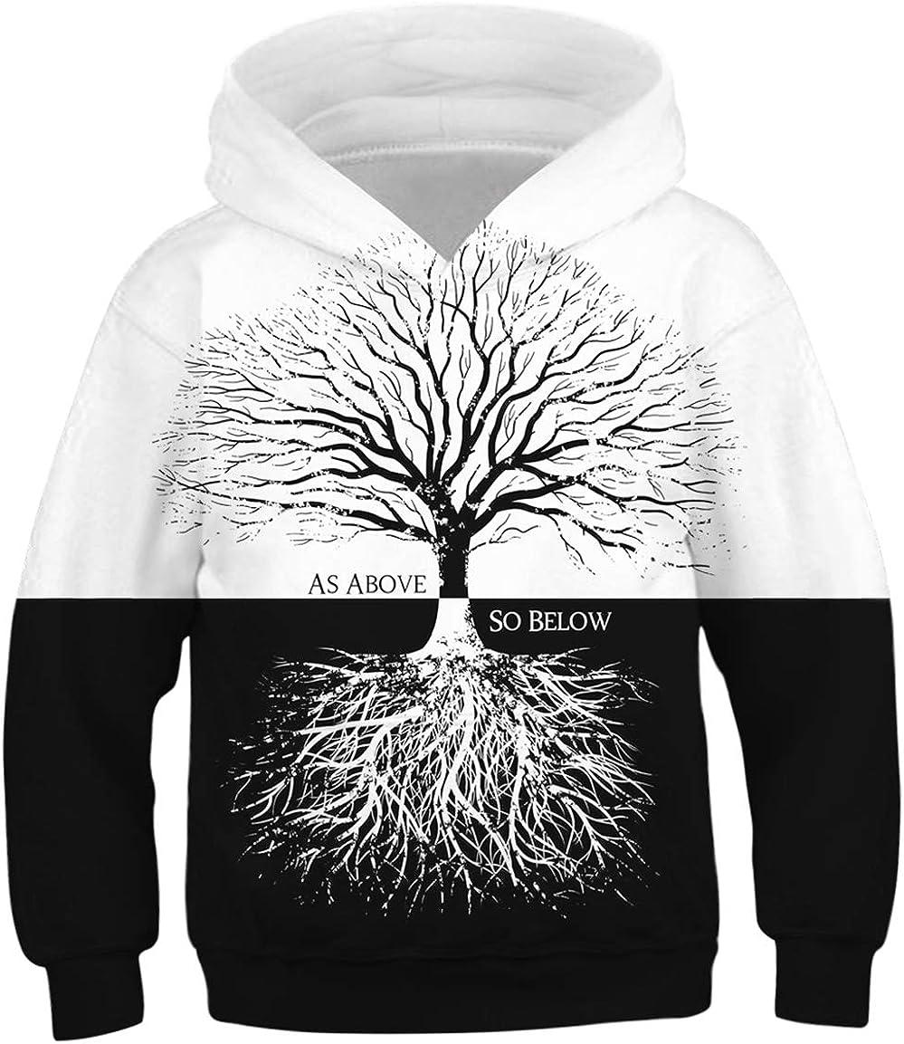 OPCOLV Teen Boys Girls 3D Printed Hooded Sweatshirt Casual Graphic Pullover Hoodies with Pocket 6-16Y
