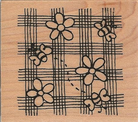 Plaid Flowers Bees Square Wood Mounted Rubber Stamp (E459)