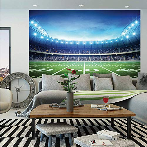 SoSung Football Wall Mural,Photo of American Stadium Green Grass Arena Playground Bleachers Event Match,Self-Adhesive Large Wallpaper for Home Decor 83x120 inches,Blue Green White