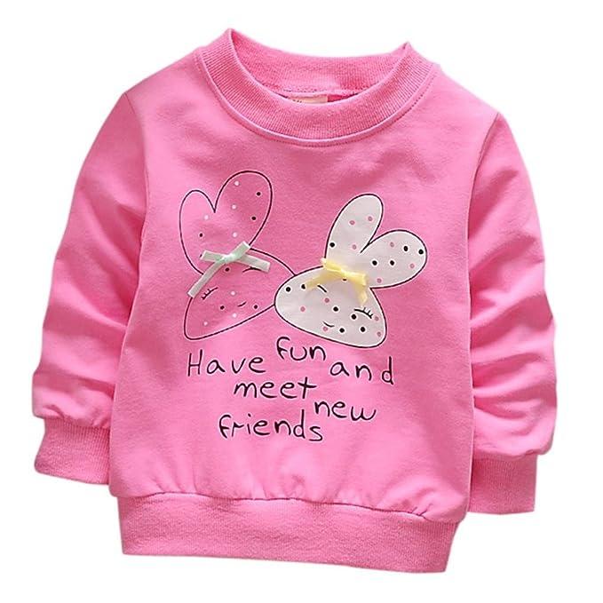 e57e68369 Yannerr Bebé niña Estampado Conejo Dibujos Bowknot camiseta tops sudadera  vestido recién nacido manga larga blusa
