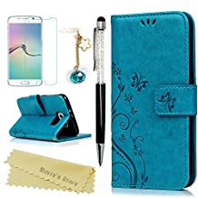 Galaxy S6 Wallet Case - Mavis's Diary Premium Leather with Fashion Floral Flip Cover for Samsung Galaxy S6 Non-Edge with Hand Strap & Dust Plug & Crystal Pen & Screen Protector - Blue