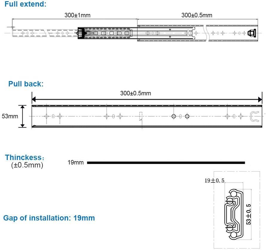 2 piezas 1 par carril de caj/ón de extensi/ón completa de caj/ón deslizante de 80 kg de capacidad de rodamiento para caj/ón blanco