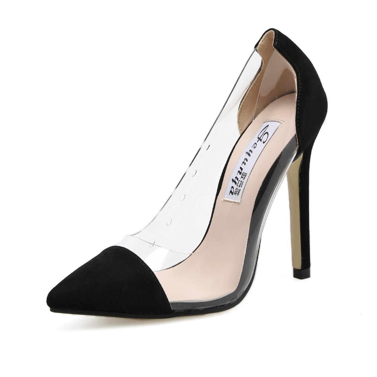 Donne delle nuove Scarpe singole sexy dell'alto tallone dello stiletto di Stiletto cappotto rotondo della piattaforma della piattaforma delle pompe dell'unità di elaborazione delle pompe della p , nero , EUR 38  UK 4.5