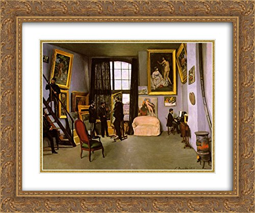 (Frederic Bazille 2X Matted 24x20 Gold Ornate Framed Art Print 'The Artist's Studio, Rue de la Condamine' )