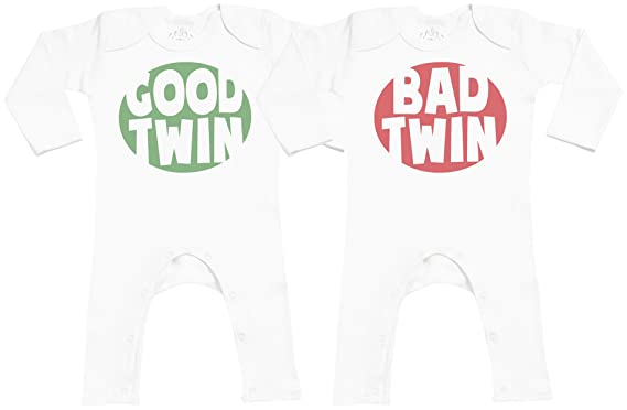 b26540133 Amazon.com  SR - Good   Bad Twin Baby Footless Romper - Baby Romper ...