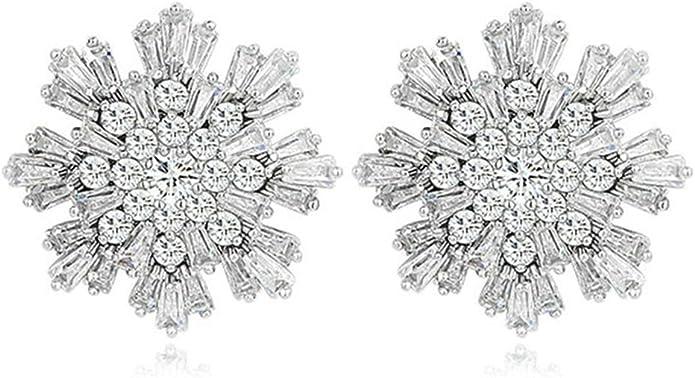 KnSam Women Platinum Plate Pierced Stud Earrings Edelweiss Flower Crystal Rhinestone White