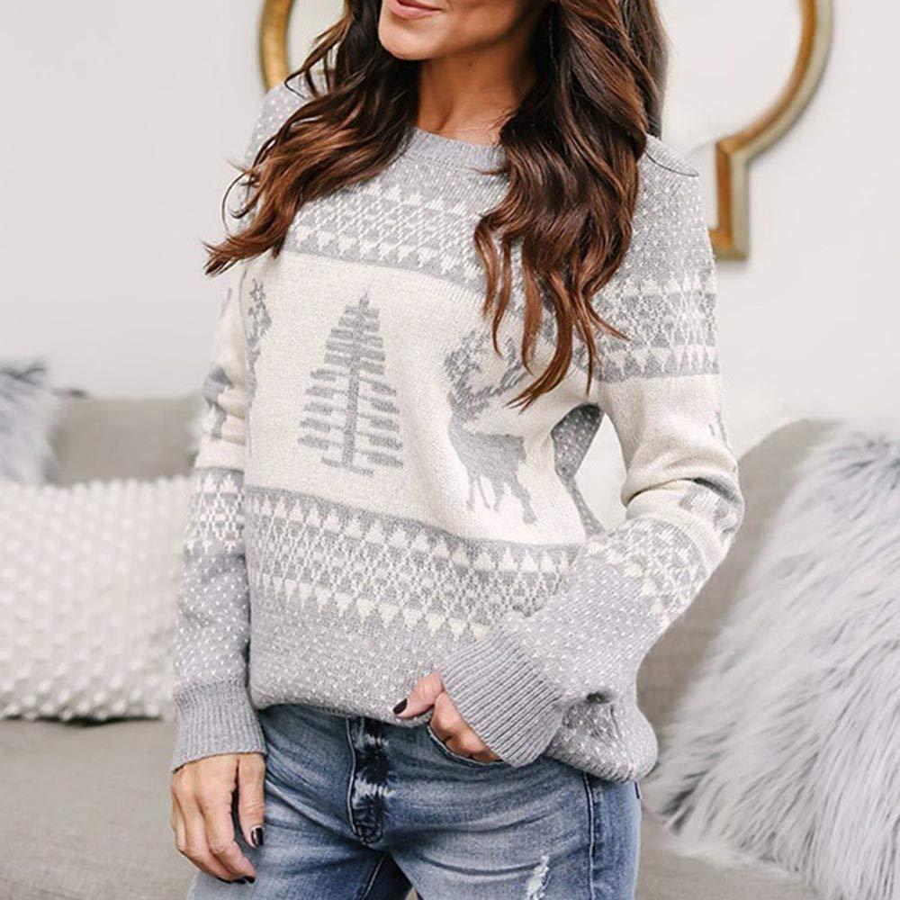 Alueeu Womens Turtleneck Sweater Christmas Sweater Long Sleeve Oneck Christmas Tree Knitting Sweater Tops