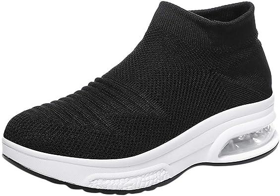 BASACA 2019 Nouveau Chaussures Basket Femme Fille Chaussettes à Enfiler Respirantes Tissées en été Chaussures De Sport Coussins d'air Espadrilles