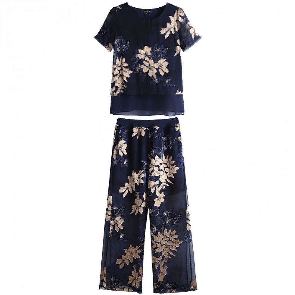 L BINGQZ Wide leg pants silk suit female summer temperament goddess fan retro Hong Kong flavor trendy two-piece