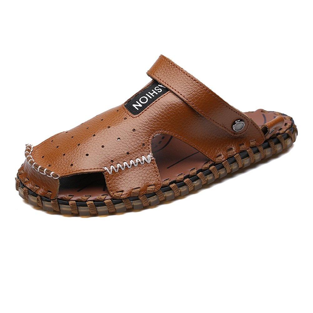 Zapatillas de Hombre de Cuero Genuino Zapatillas de Playa Transpirable Perforación Sandalias Casuales Antideslizante Suave Plano Ajustable sin Respaldo 40 EU Brown