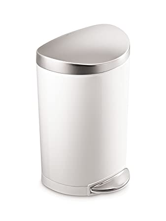 Simplehuman Semi Round Step Trash Can, White Steel, 10 L / 2.6 Gal