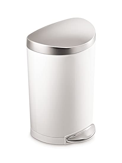 Simplehuman 10 Liter / 2.3 Gallon Stainless Steel Small Semi Round Bathroom  Step Trash Can