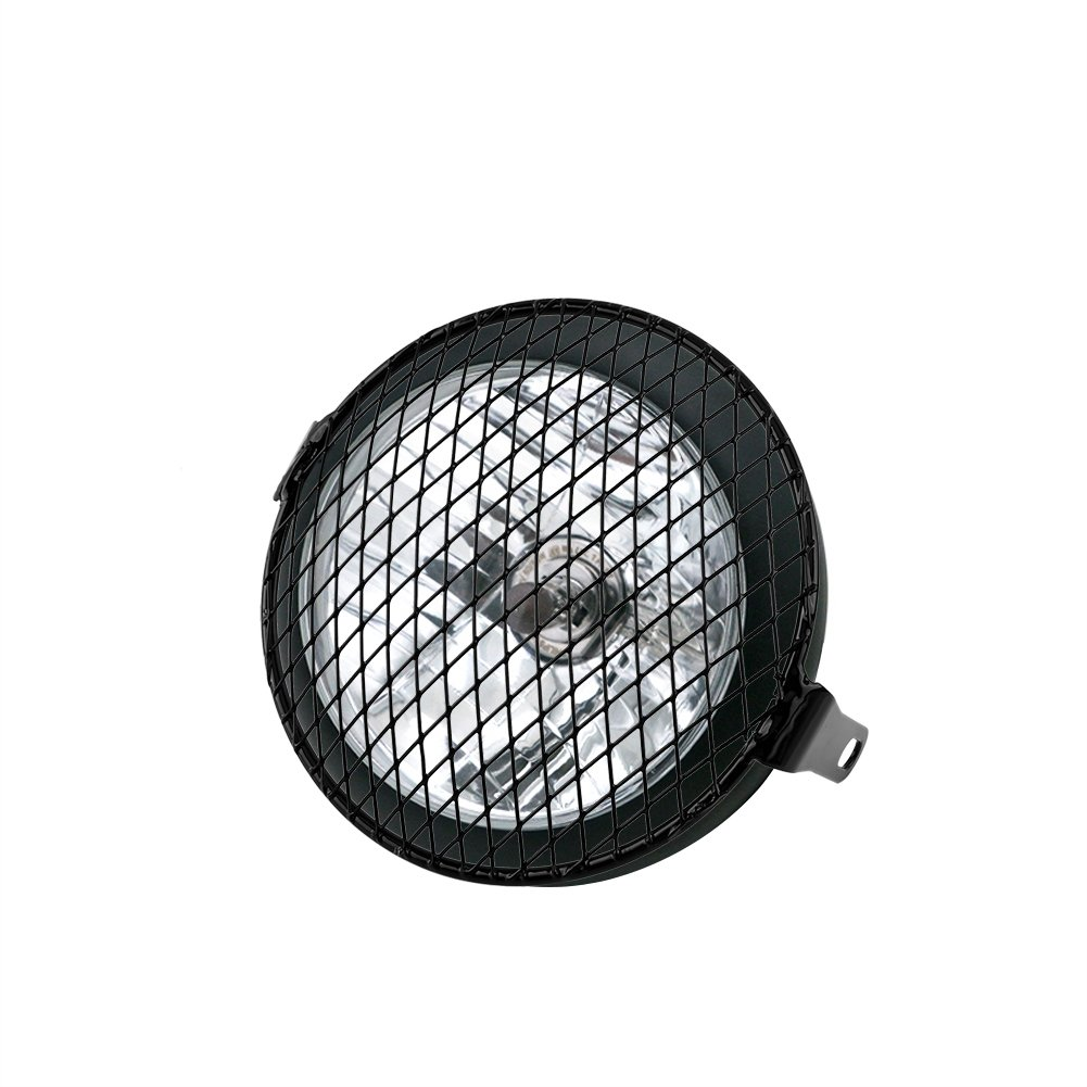 6.3 Motorcycle Headlight Grill Cover Lamp Mask Protector Guard Cover Retro Cafe Racer Mental Wire Mesh Side Mount Universal Vintage Classic 16cm