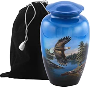 Eternitymart's Aesthetic Painted Cremation Urn - Affordable Metal Urn - Hand Painted Solid Metal Urn for Ashes, Adult Cremation Urn with Free Velvet Bag (Eagle)
