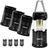 VIBELITE Led Lantern, 4 Pack Portable LED Camping Lantern with 12 AA Batteries - Survival Kit for Emergency, Hurricane, Power Outage (Black, Collapsible)