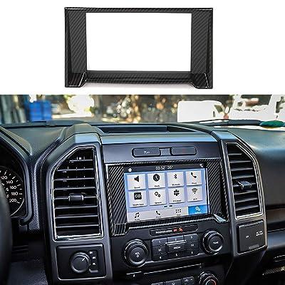 Car Dashboard GPS Navigation Panel Decoration Frame Trim Cover for Ford F150 2015 2016 2020 (Carbon Fiber): Automotive