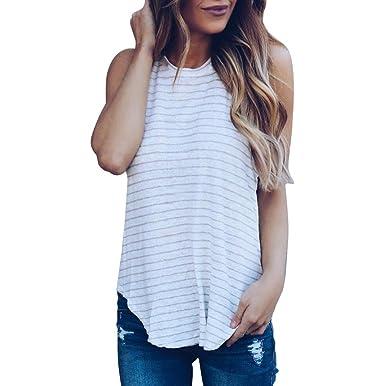26bec1cf745760 Pingtr Womens Sexy Stripe Print T-Shirt Tank Tops, Fashion Women Casual O- Neck Vest Sleeveless Crop Top Tank Vest Sexy Blouse Shirt: Amazon.co.uk:  Clothing