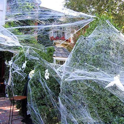 Halloween Decorations Spider Web, Stretch Cobwebs for Halloween Indoor/Outdoor Decoration 1000sqft with 60 Fake Spiders