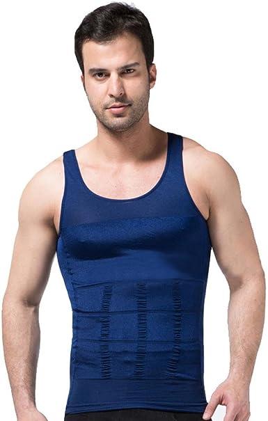 ZEROBODYS Faja reductora hombres camisa de elástica de adelgazamiento de la forma chaleco escultural Azul SS-M01 (XXL): Amazon.es: Ropa y accesorios